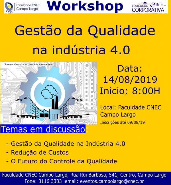WORKSHOP GESTÃO DA QUALIDADE NA INDÚSTRIA 4.0