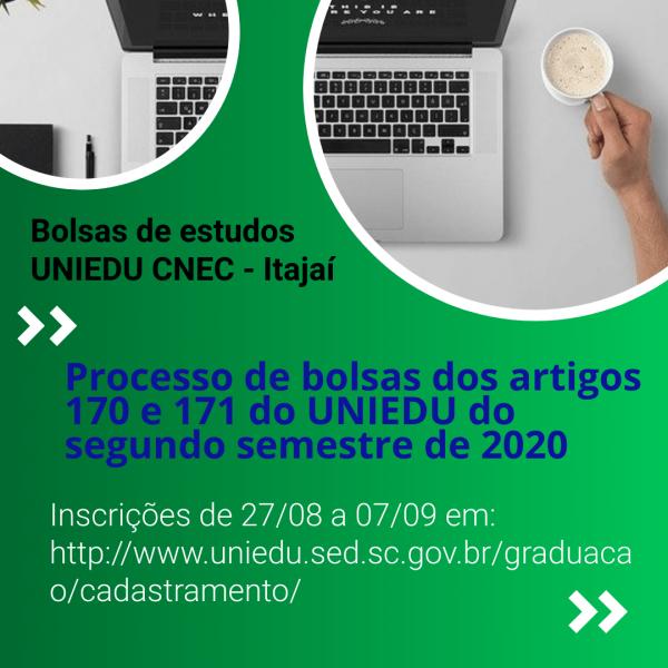 PROGRAMA DE BOLSAS UNIVERSITÁRIAS UNIEDU CRONOGRAMA DO PROCESSO SELETIVO ARTIGO 170 e 171/2020