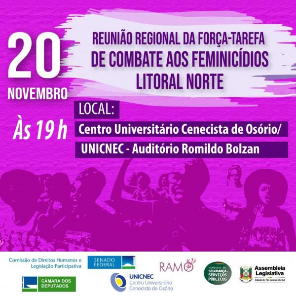 Reunião Regional da Força-Tarefa de Combate aos Feminicídios no Litoral Norte