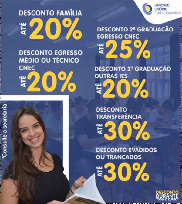 UNICNEC divulga descontos para ingressantes 2019/2