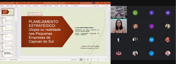 Acadêmico de administração apresenta resultado de pesquisa em encontro virtual