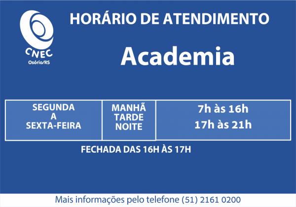 Mudança horário da Academia
