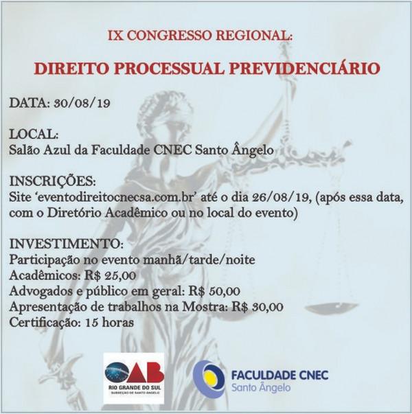IX CONGRESSO REGIONAL DE DIREITO PROCESSUAL PREVIDENCIÁRIO