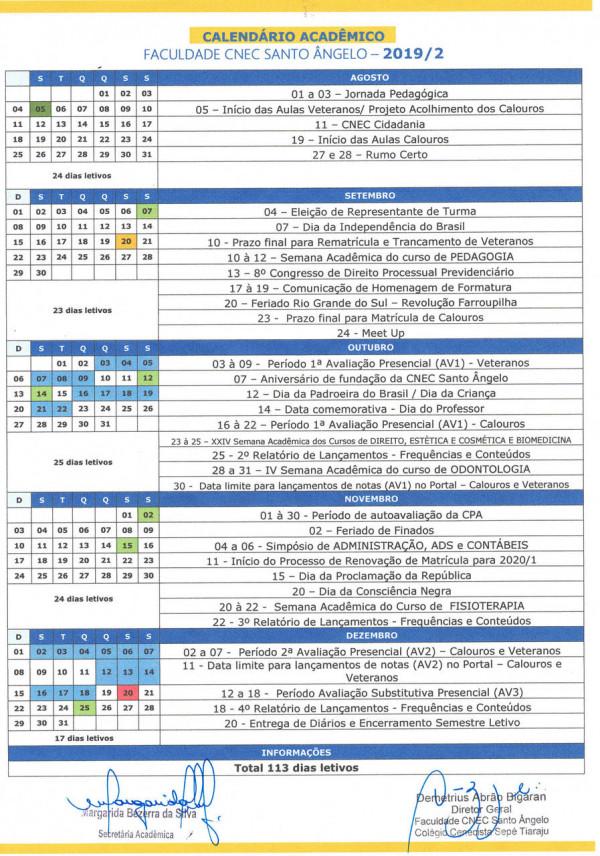 Segue link para melhor visualização do  Calendário Acadêmico de agosto a dezembro: